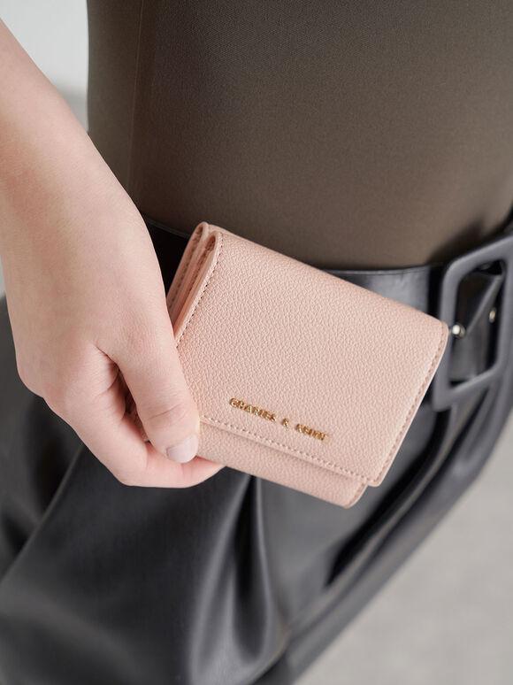 Mini Snap-Button Small Wallet, Pink, hi-res