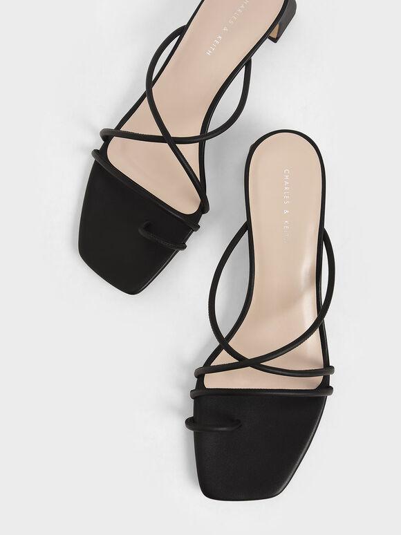 Strappy Toe Ring Sandals, Black, hi-res