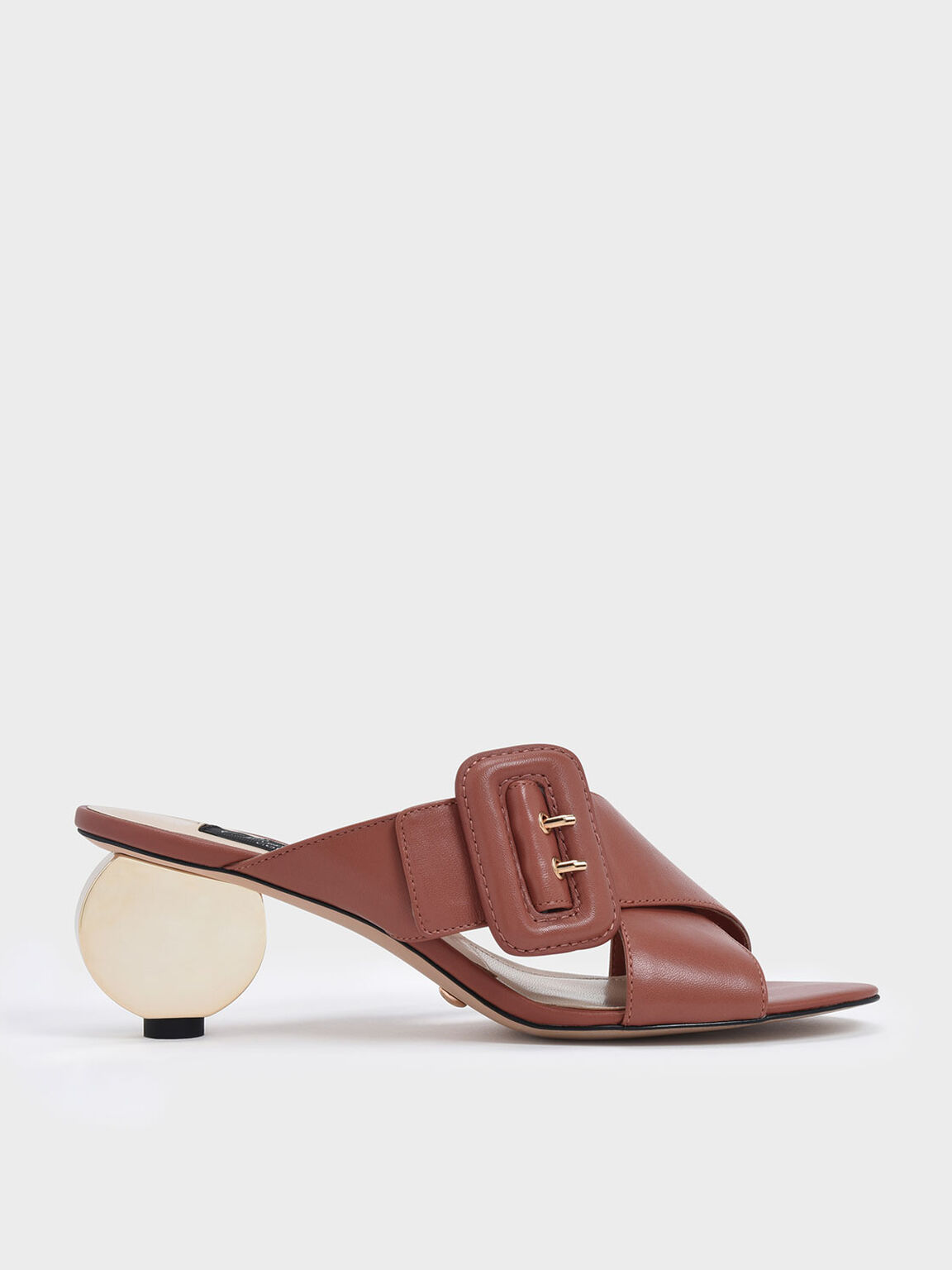 Sculptural Heel Leather Slide Sandals, Brick, hi-res