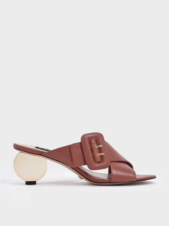 Sculptural Heel Leather Slide Sandals, Brick, hi-res