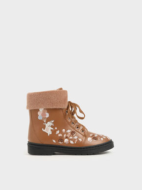 Girl's Furry Cuff Embroidered Ankle Boots, Nude