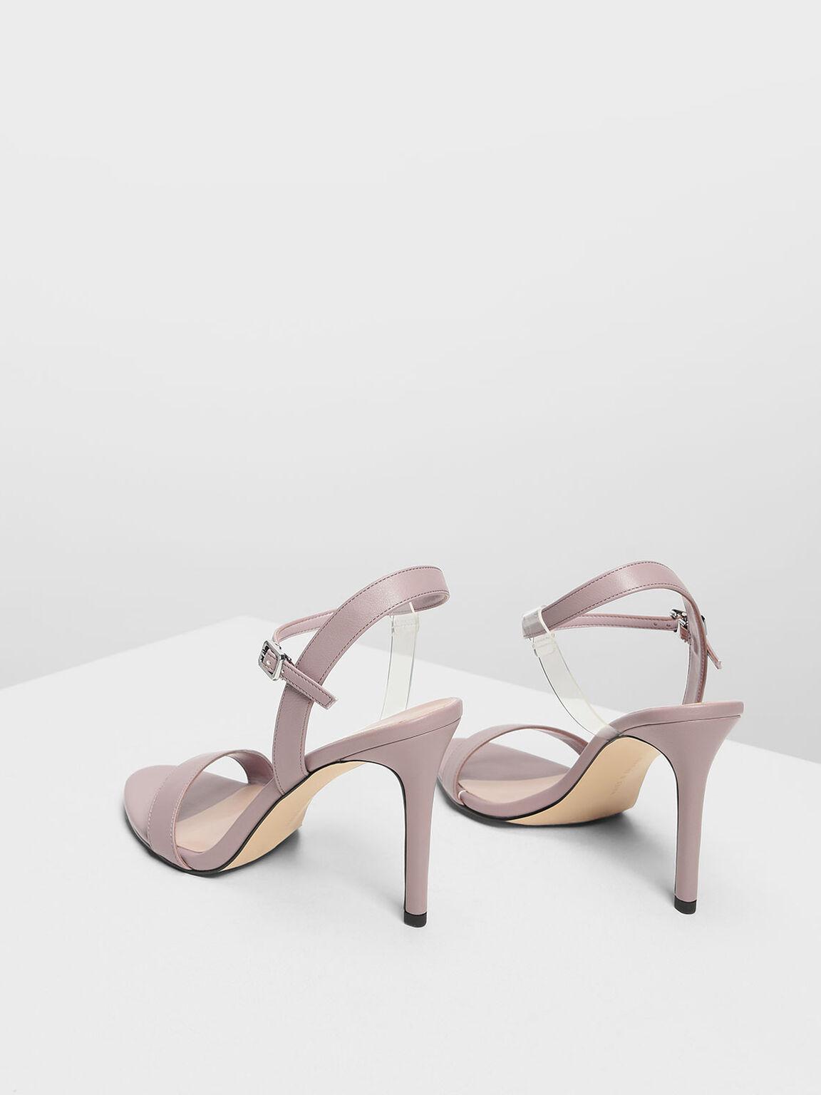 Transparent Strap Detail Heeled Sandals, Nude, hi-res