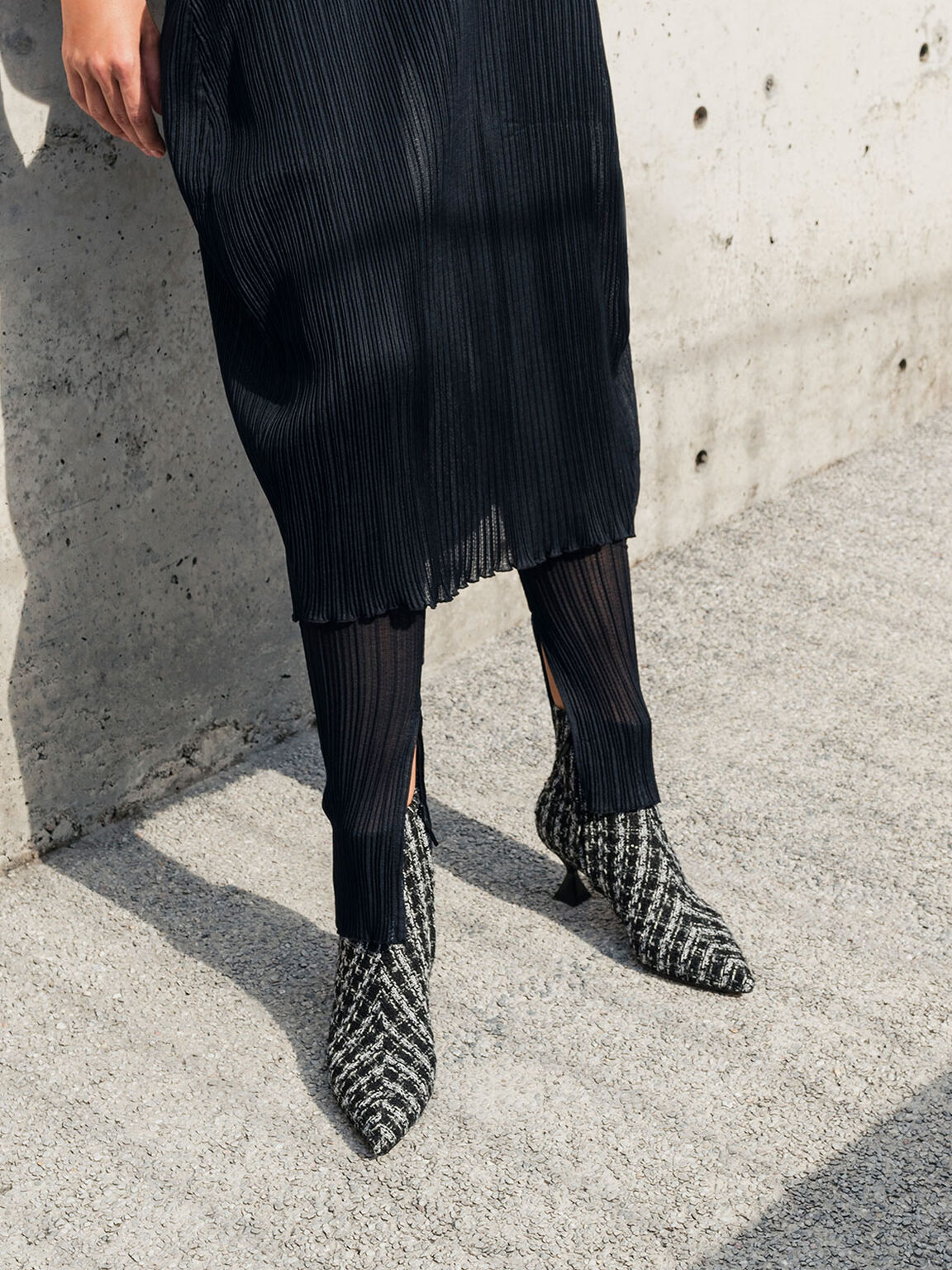Tweed Sculptural Heel Ankle Boots, Multi, hi-res