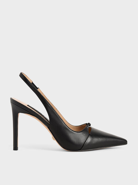 Leather Stiletto Heel Slingback Pumps, Black, hi-res