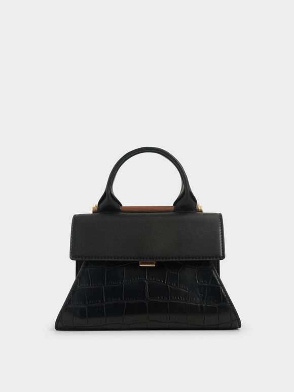 Small Croc-Effect Sculptural Bag, Black, hi-res