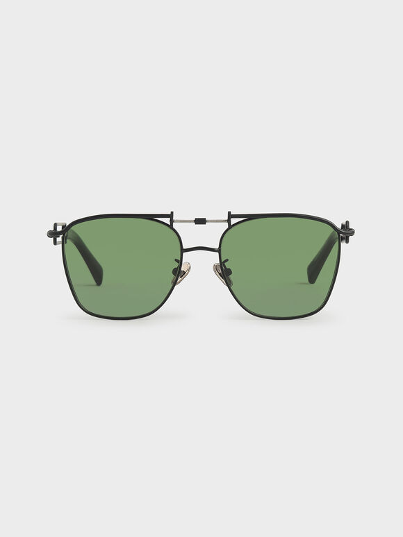 Square Double Bridge Sunglasses, Black, hi-res