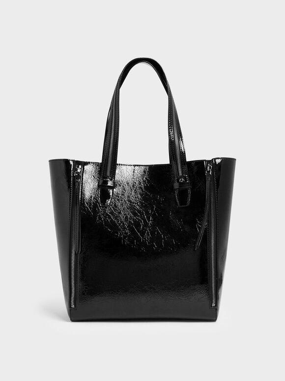 Wrinkled Patent Double Zip Long Handle Tote Bag, Black, hi-res