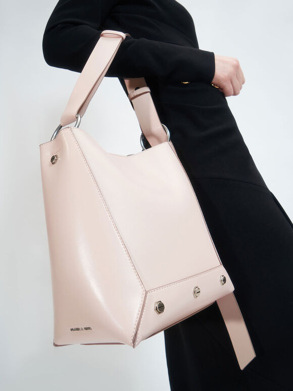 Studded Tote Bag, Light Pink, hi-res