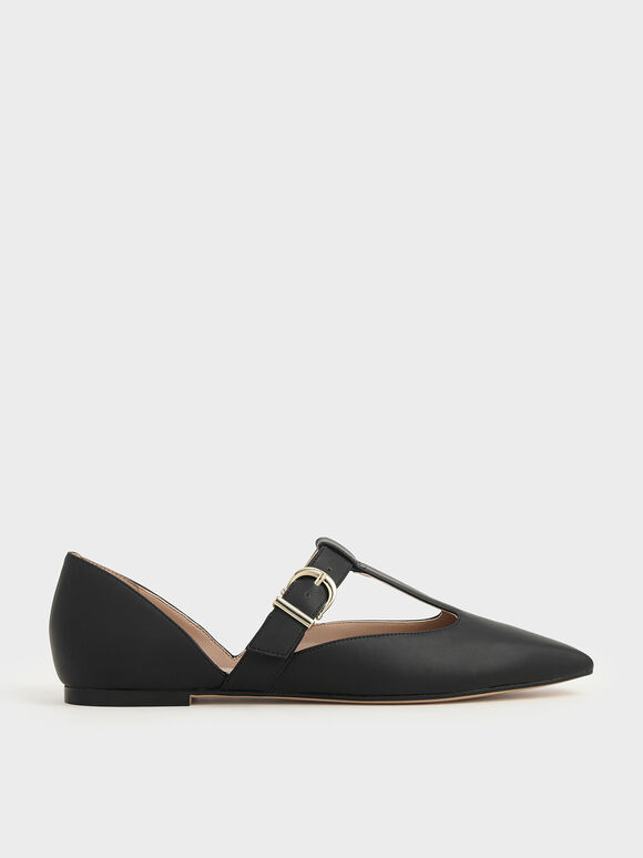 T-Bar Buckle Flats, Black, hi-res