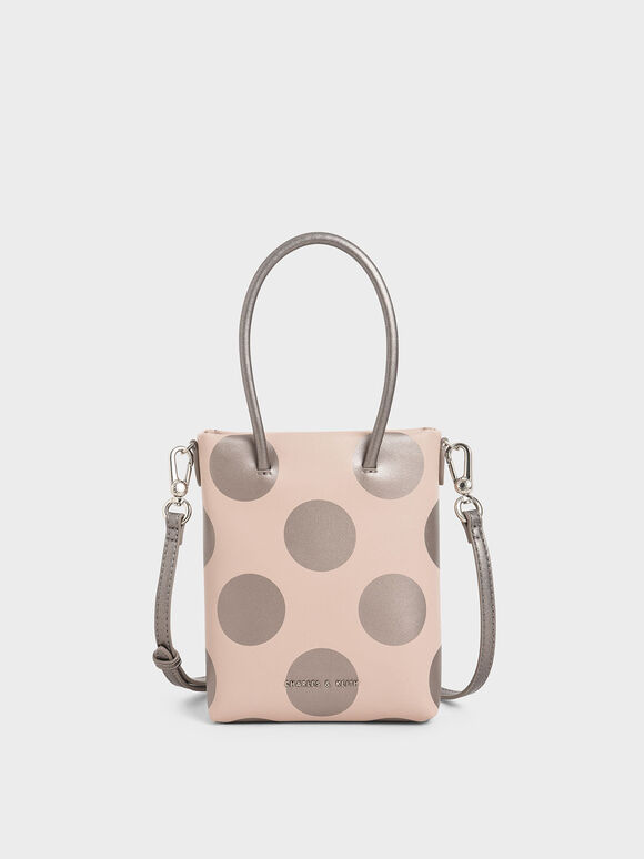 Girls' Dot Motif Tote Bag, Pink, hi-res