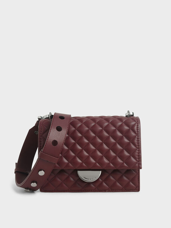Quilted Crossbody Bag, Burgundy, hi-res