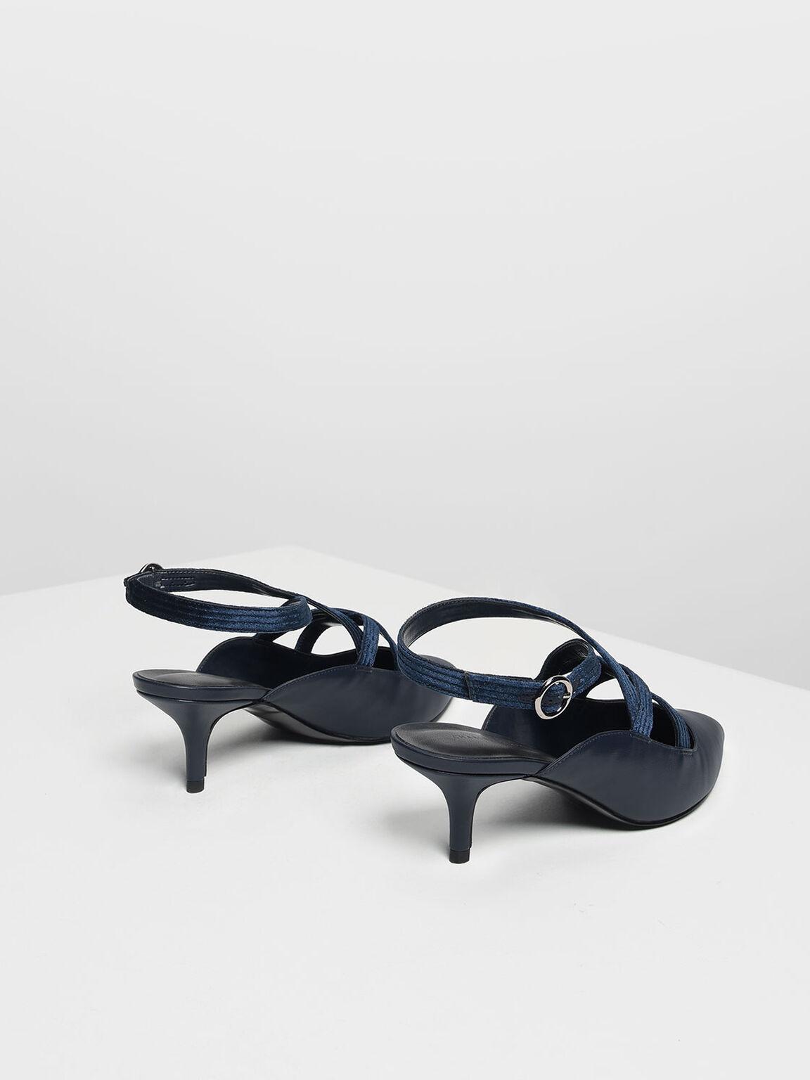 Criss Cross Velvet Strap Heels, Dark Blue, hi-res