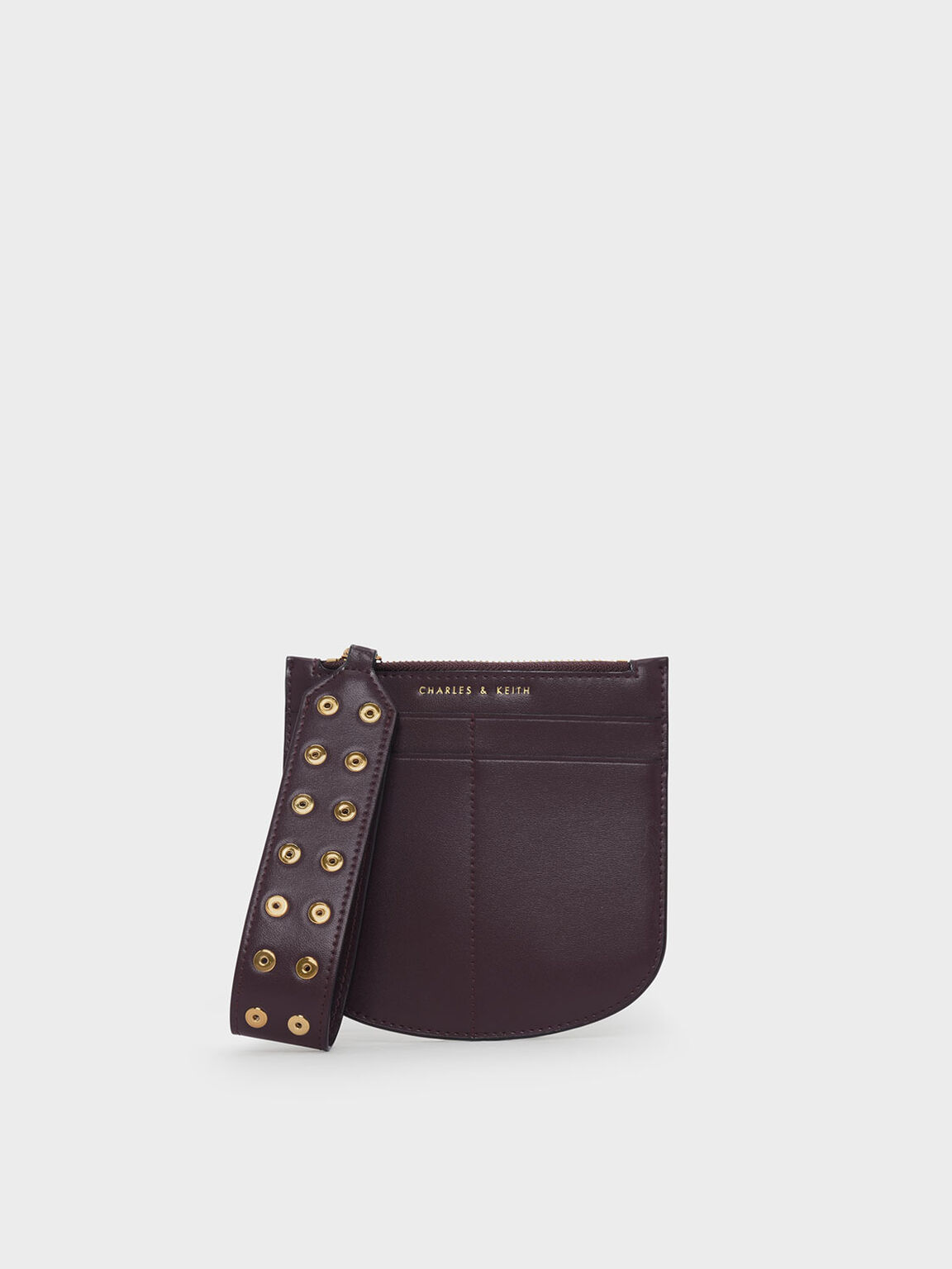 Stud Detail Handle Wristlet, Prune, hi-res