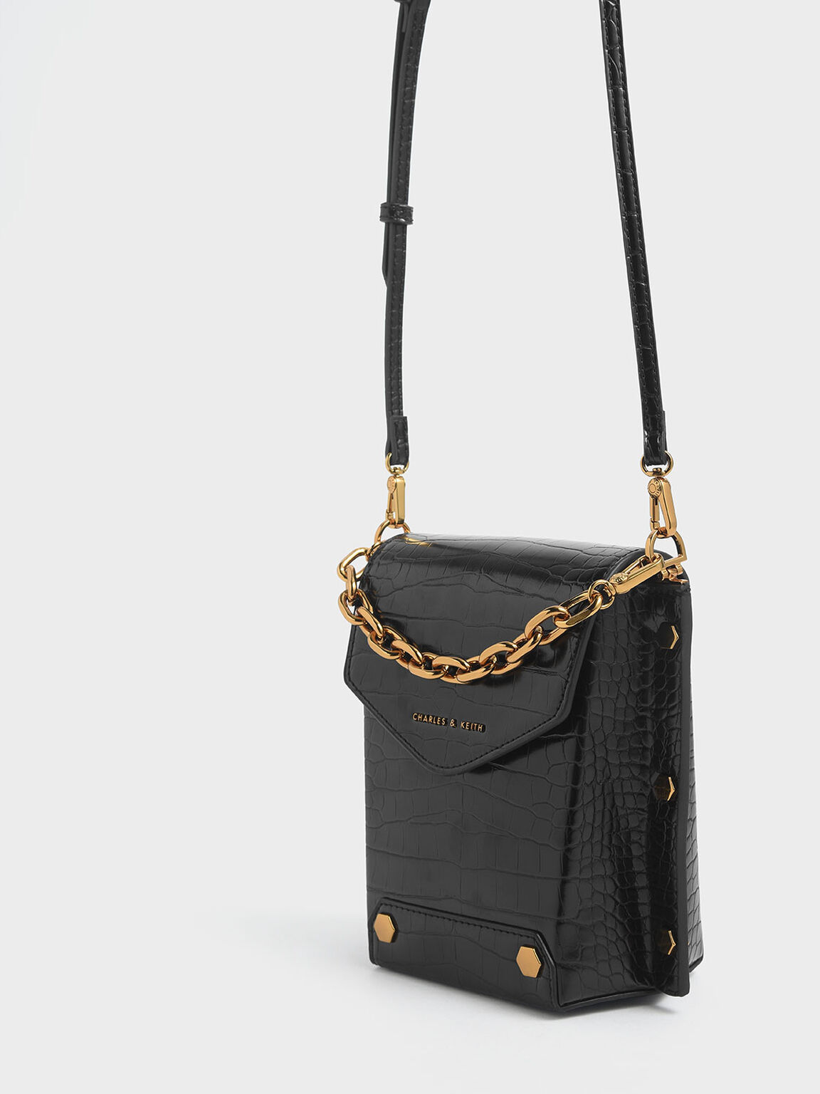 Croc-Effect Stud Detail Bag, Black, hi-res