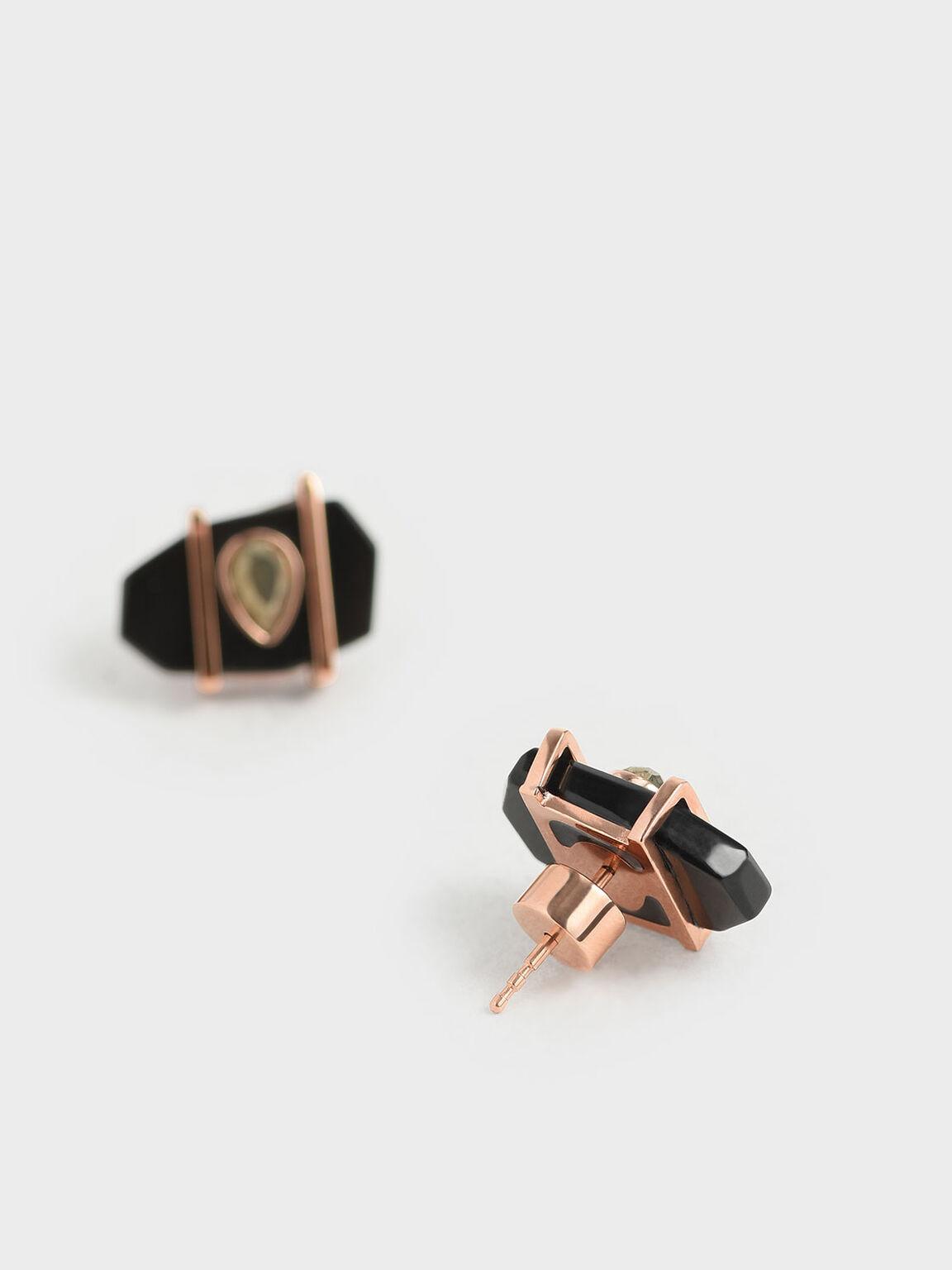 Onyx & Pyrite Gemstone Teardrop Stud Earrings, Black, hi-res