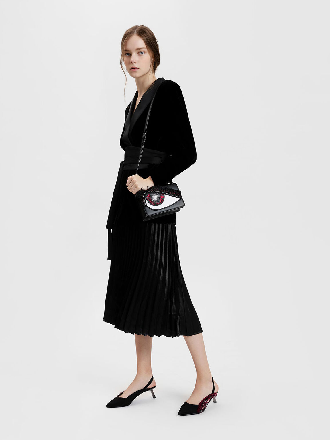 Eye Detail Embellished Slingback Heels, Black, hi-res