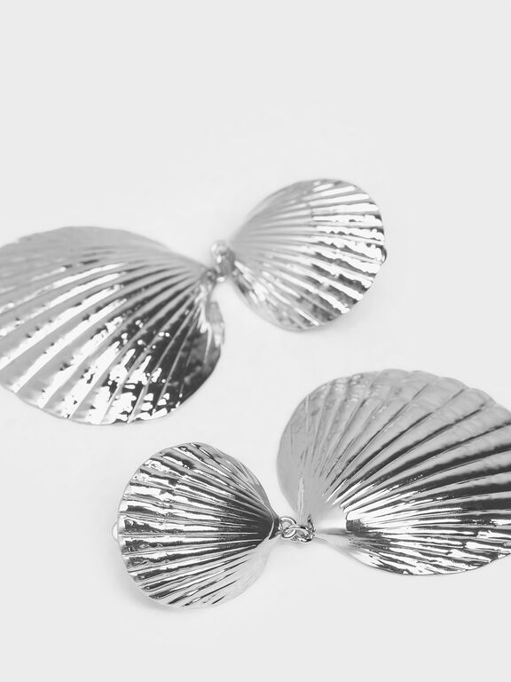 Round Seashell Drop Clip-On Earrings, Silver