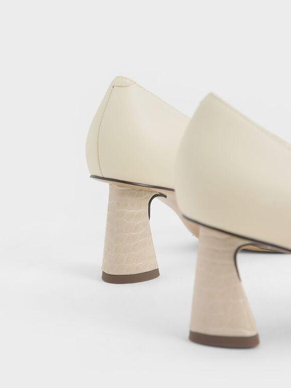 Sculptural Heel Pumps, Cream, hi-res