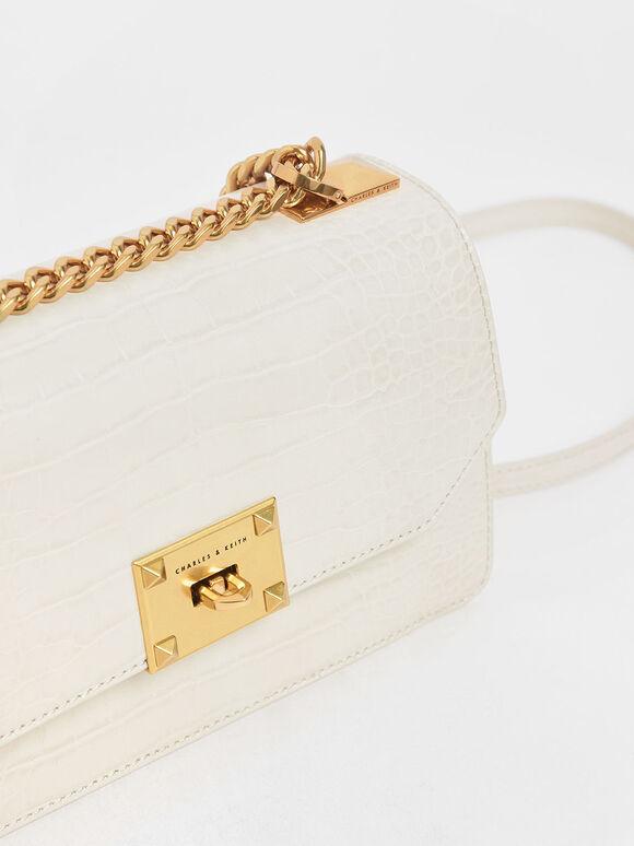 Croc-Effect Chain Strap Crossbody Bag, Cream, hi-res