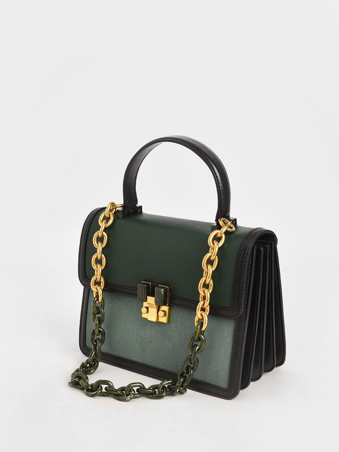 Chunky Chain Strap Bag, Green, hi-res