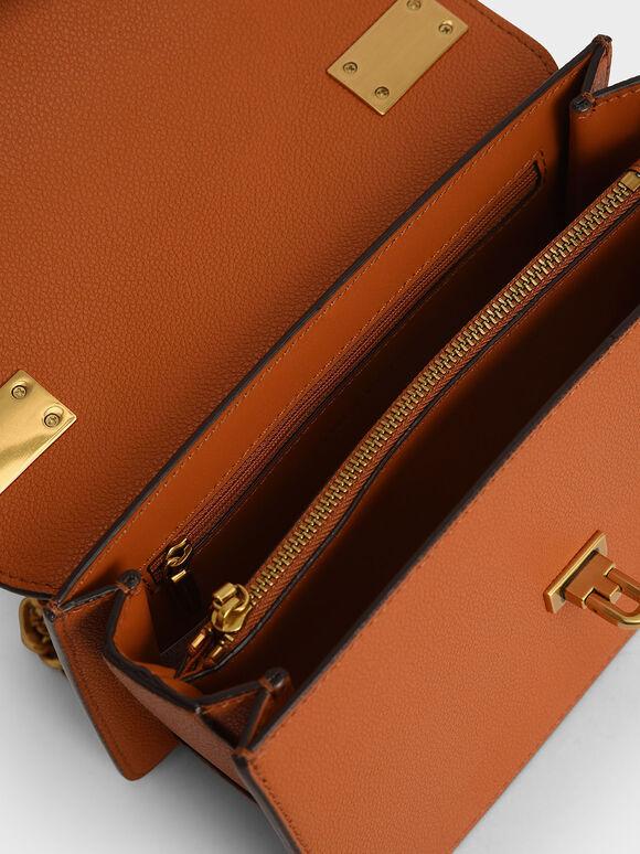 經典掀蓋斜背包, 橘色, hi-res