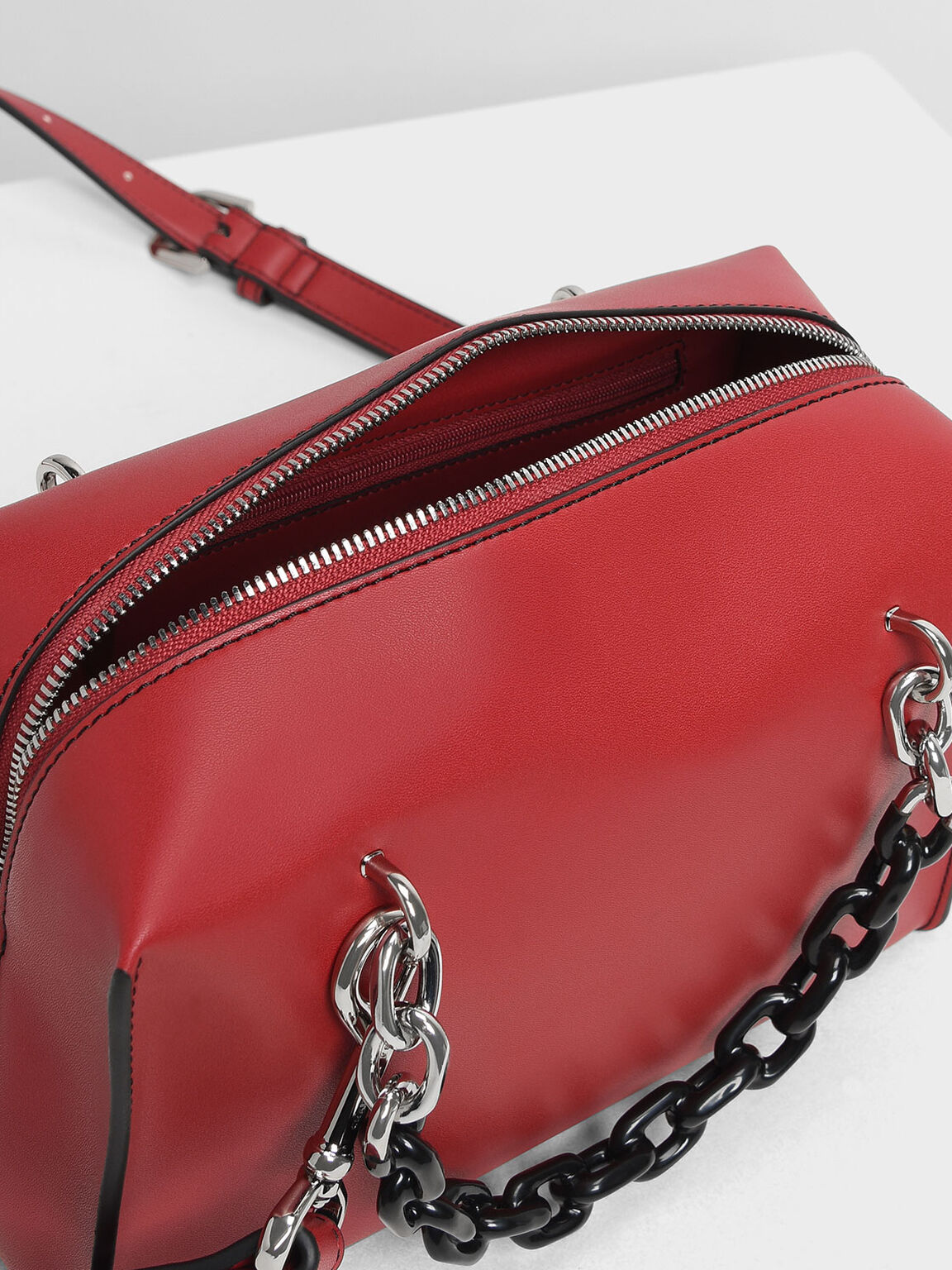 Double Chain Handle Bag, Red, hi-res