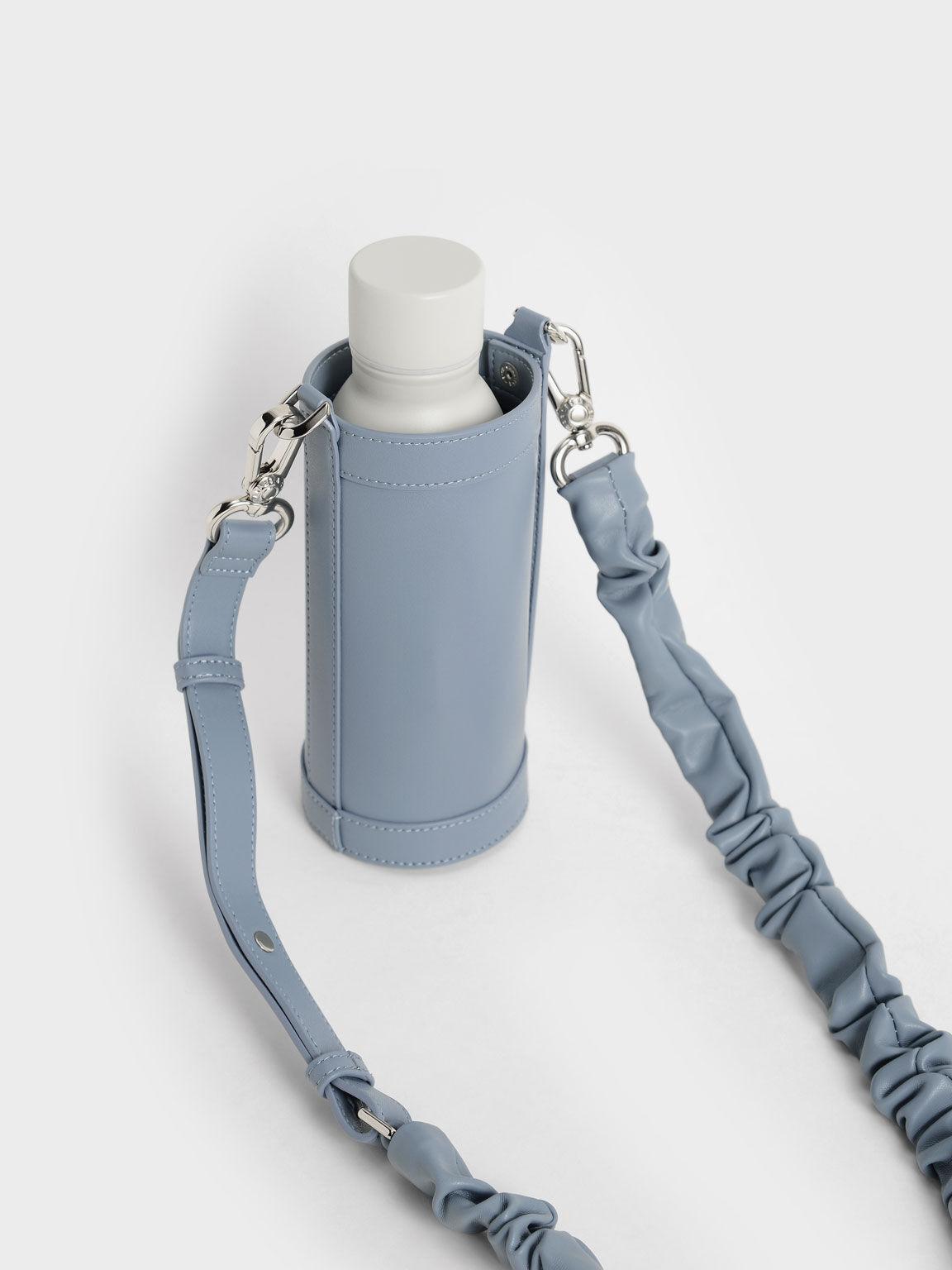 Riley Ruched Strap Bottle Holder, Blue, hi-res