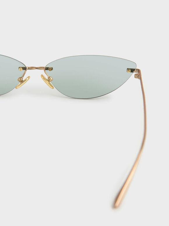 Rimless Cat-Eye Sunglasses, Green, hi-res