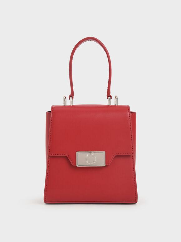 真皮鍊條手拿包, 紅色, hi-res