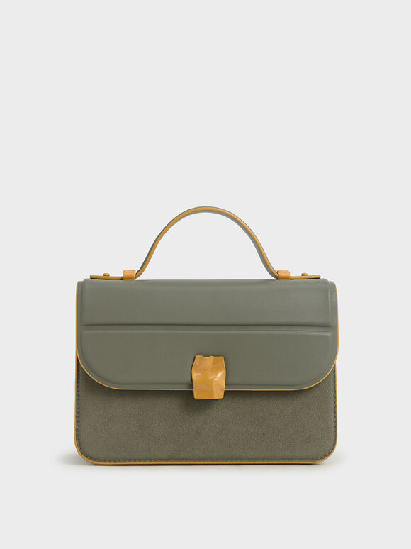 Textured Hammered Buckle Bag, Sage Green, hi-res