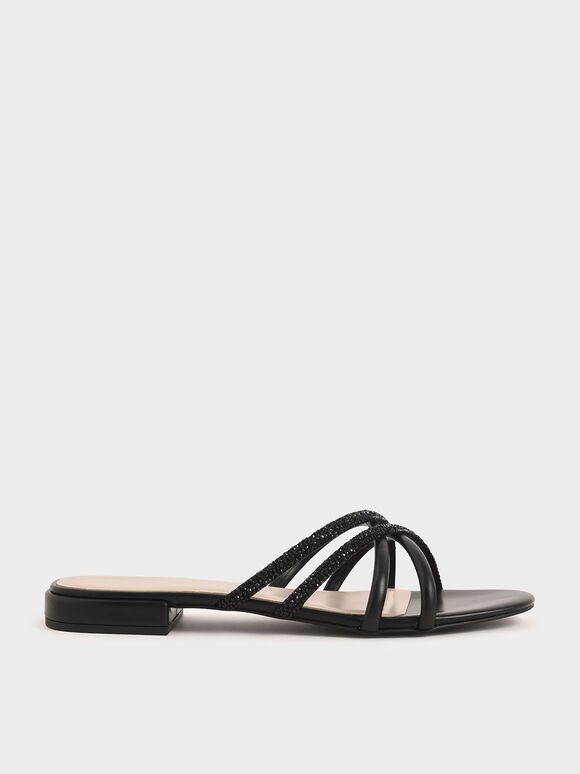 Embellished Slide Sandals, Black, hi-res