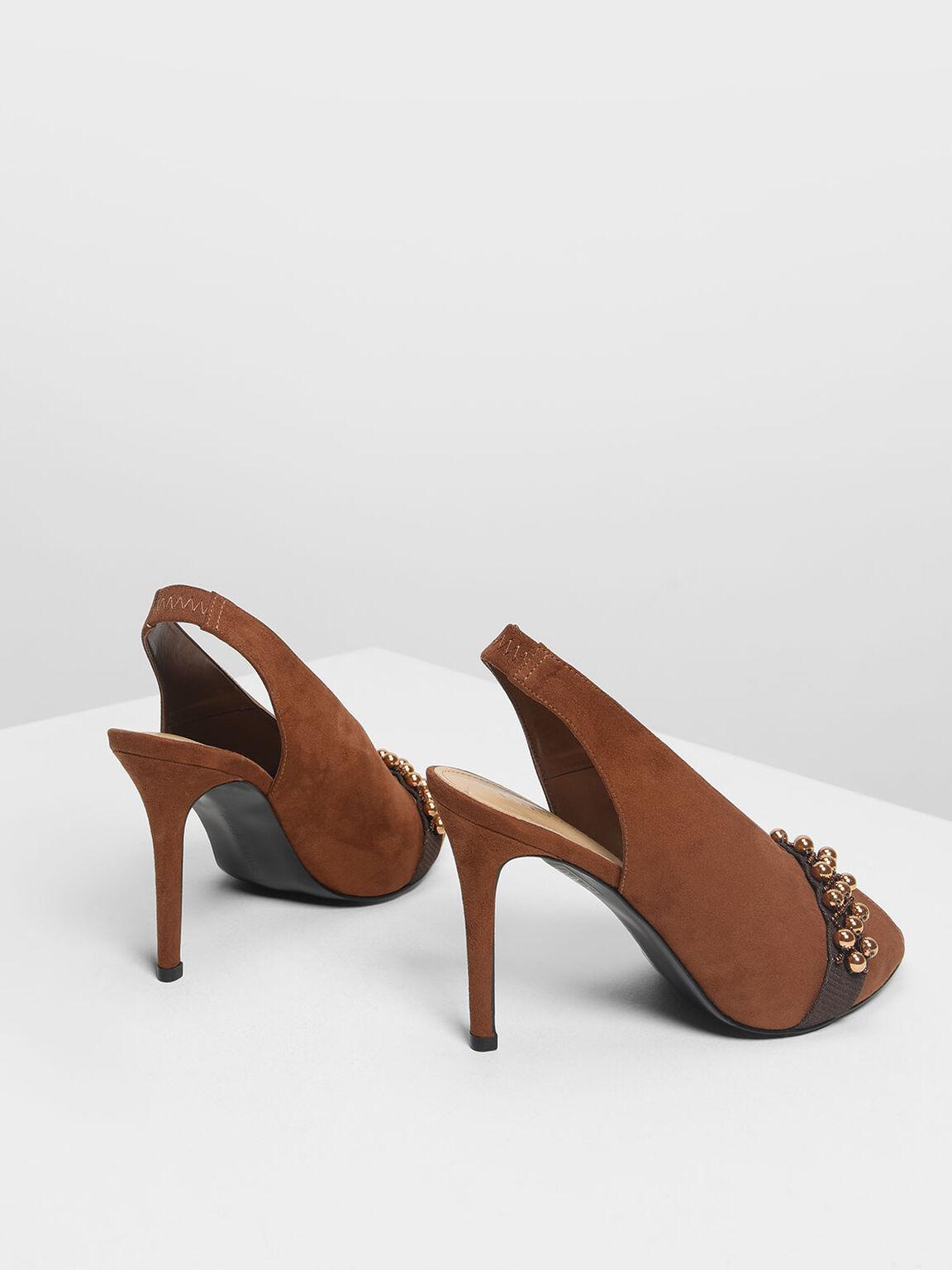 珠飾高跟鞋, 咖啡色, hi-res
