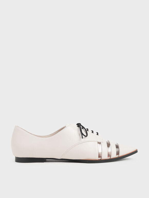 See-Through Oxford Shoes, Cream, hi-res