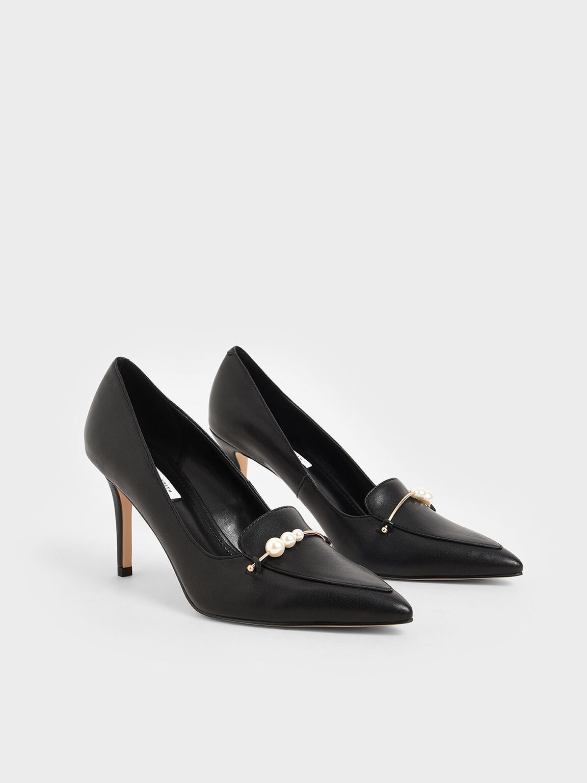 Embellished Loafer Pumps, Black, hi-res