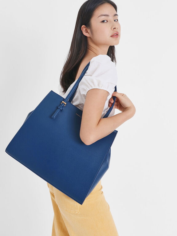 Double Handle Tote Bag, Dark Blue