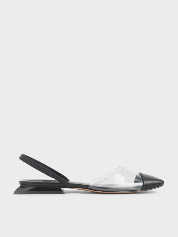 Clear Slingback Flats, Black, hi-res