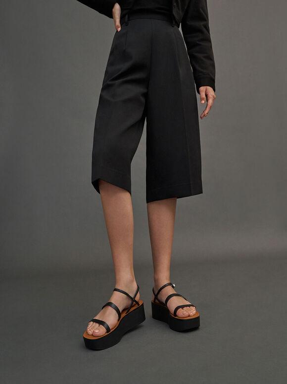 細帶厚底涼鞋, 黑色, hi-res