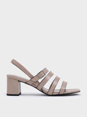 Strappy Block Heel Slingback Sandals, Nude
