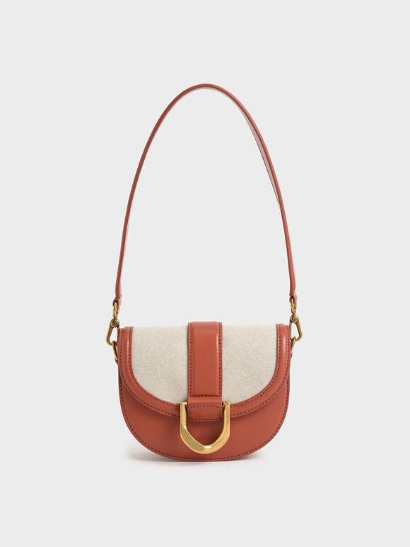 Mini Gabine Two-Tone Saddle Bag, Brick, hi-res