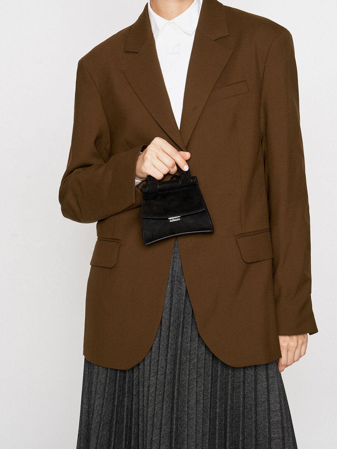 Mini Textured Top Handle Pouch Bag, Black, hi-res