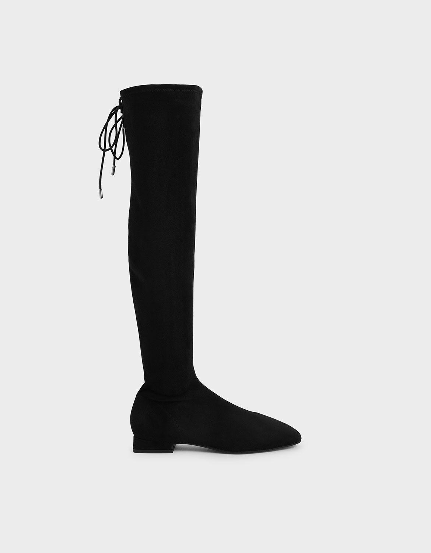 Black Textured Thigh High Boots
