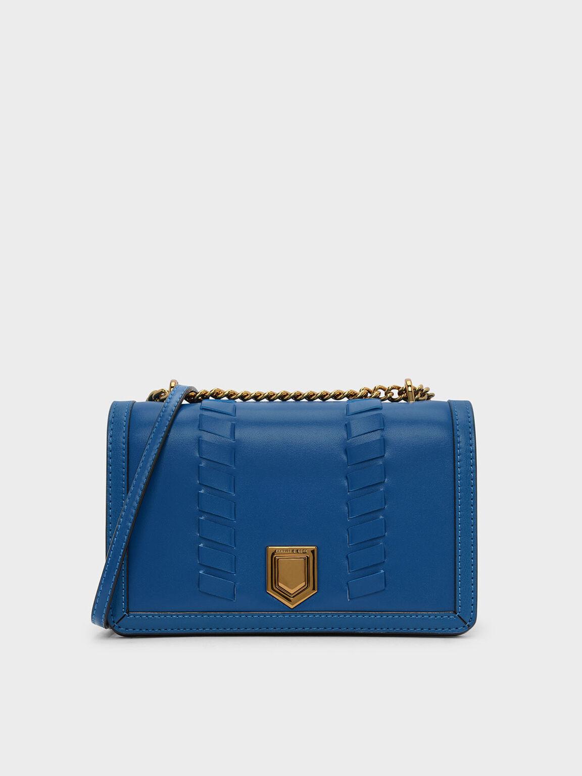 Weave Detail Crossbody Bag, Blue, hi-res
