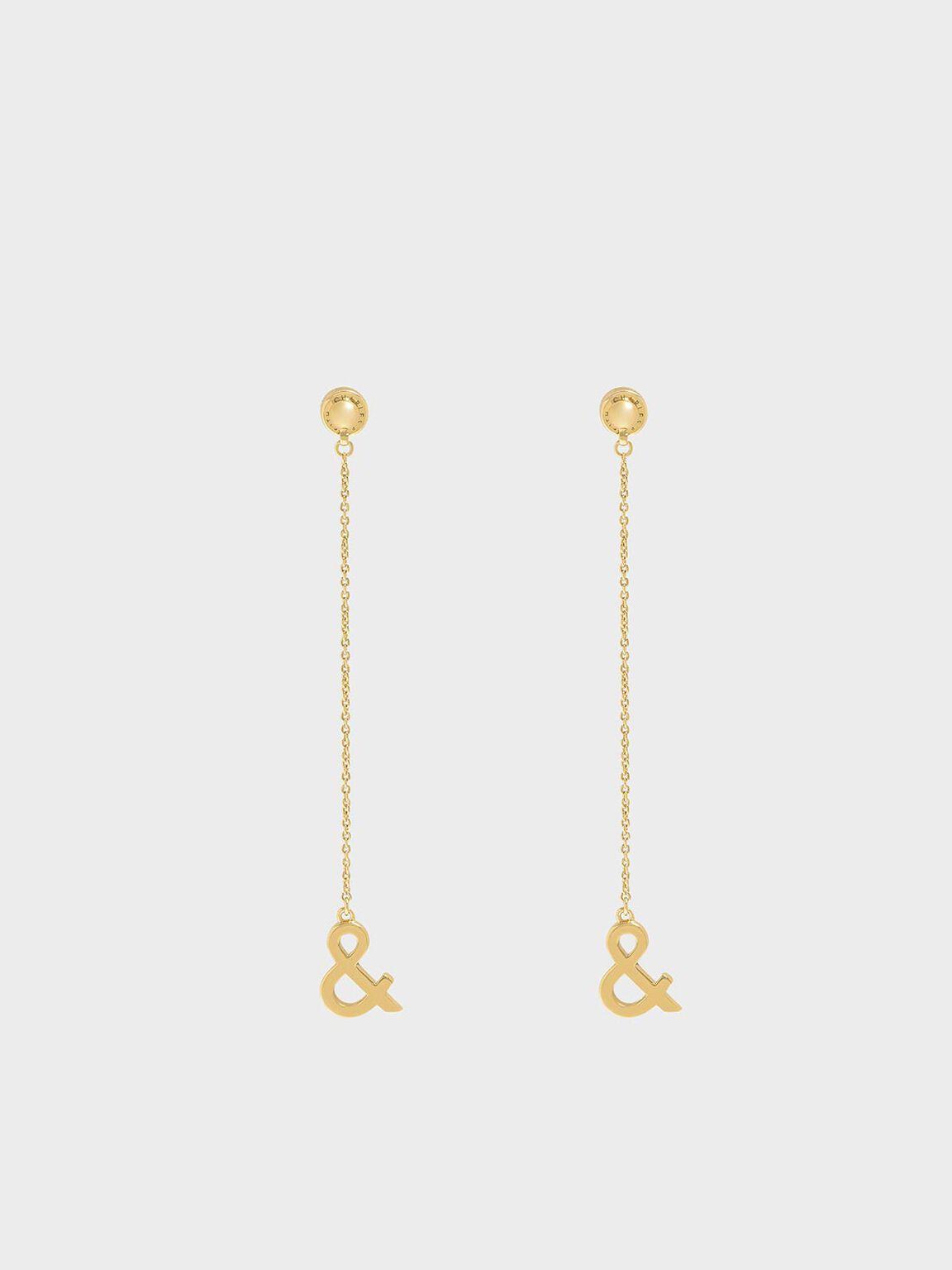 Ampersand Drop Earrings, Gold, hi-res