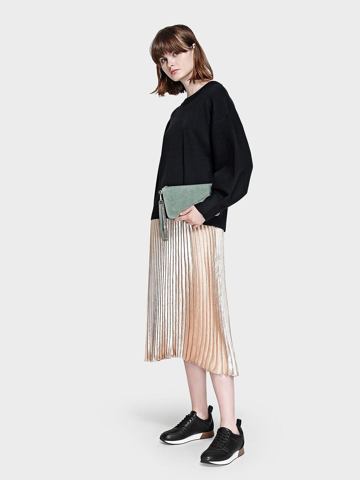 Top Zip Leather Clutch, Green, hi-res