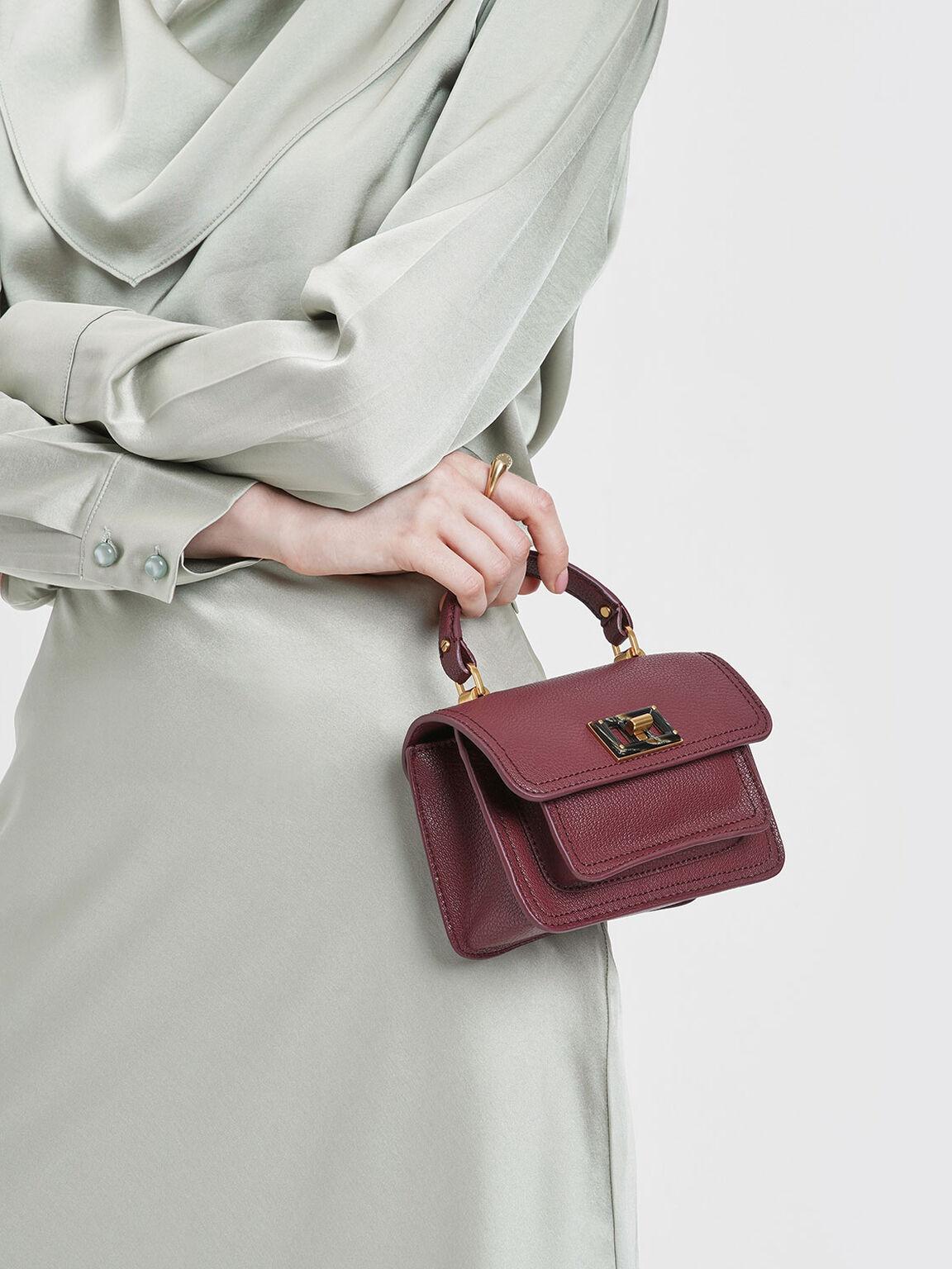 小型掀蓋手提包, 酒紅色, hi-res