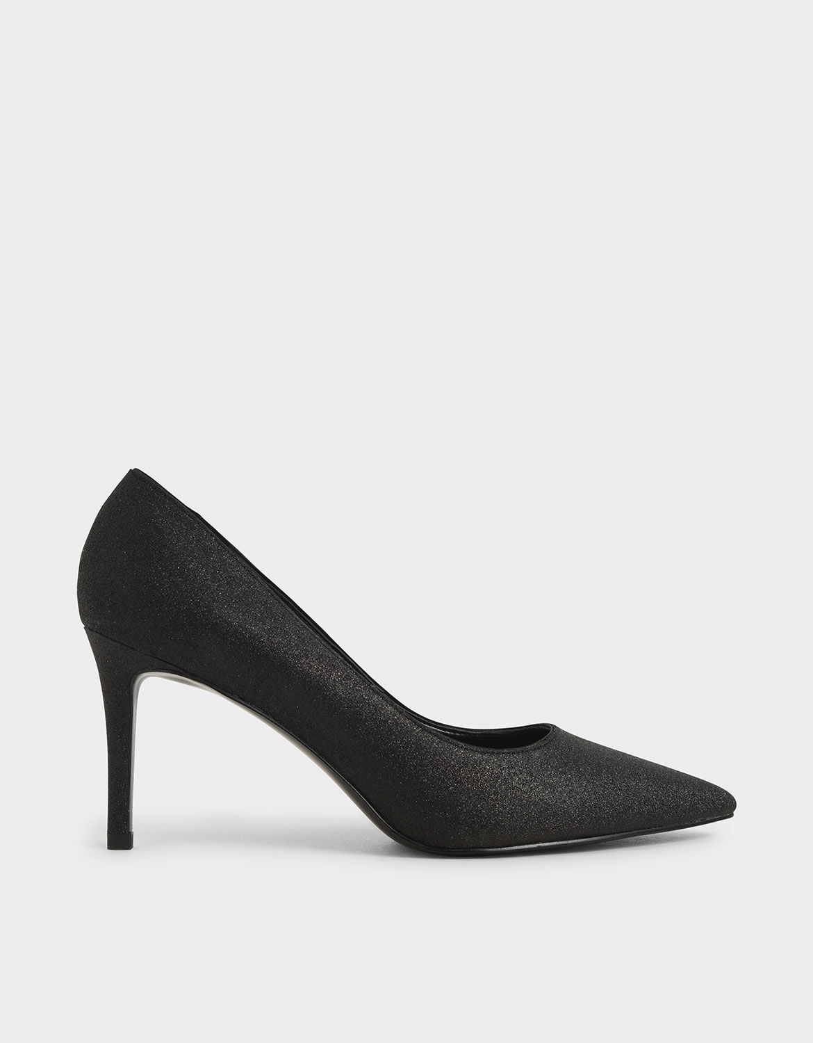 Black Glitter Pointed Toe Pumps