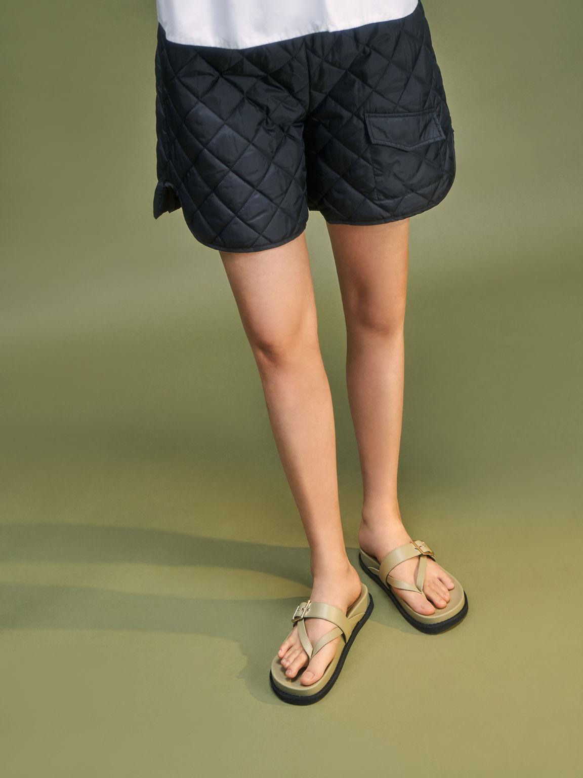Buckled Thong Sandals, Sage Green, hi-res