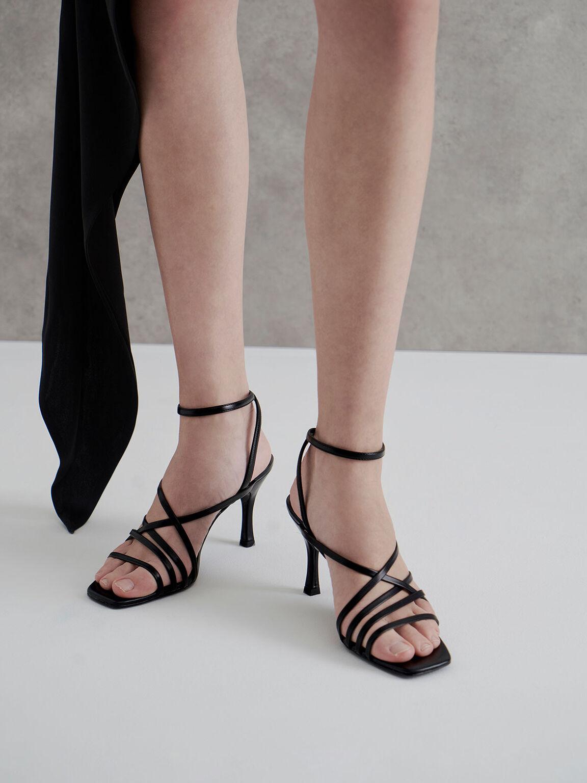 Strappy Heeled Sandals, Black, hi-res