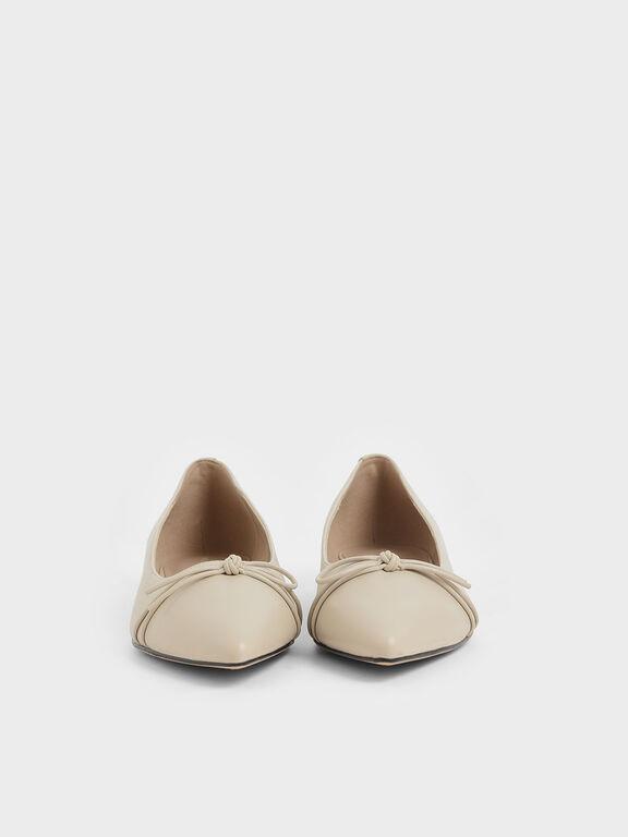 Ribbon Tie Ballerina Flats, Chalk, hi-res
