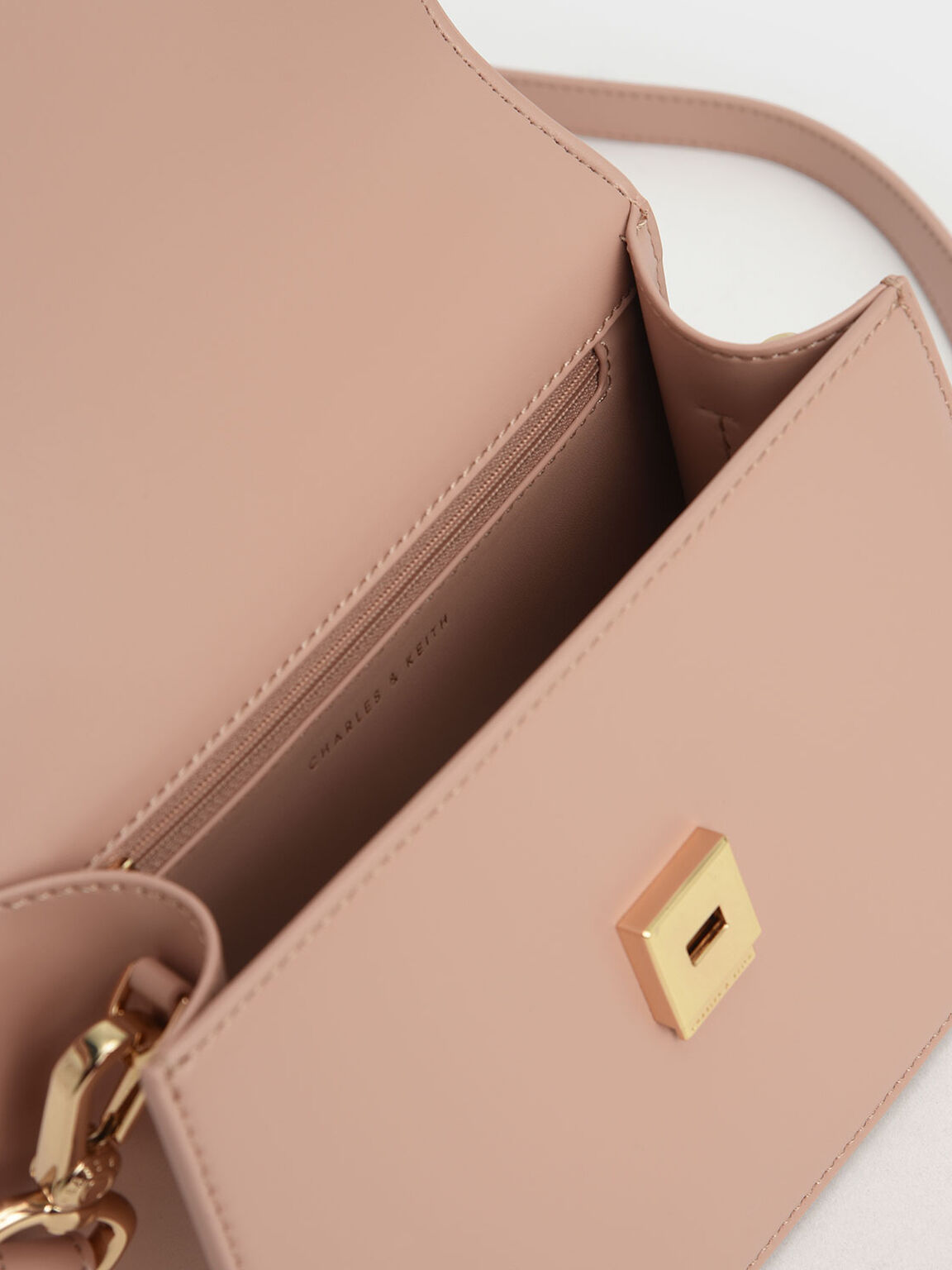 Metallic Top Handle Push-Lock Bag, Nude, hi-res